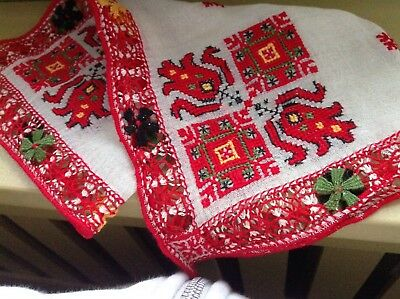 Vintage Lovely Red Hand Embroidered Open work Linen Hanky Folk Russian Hungarian
