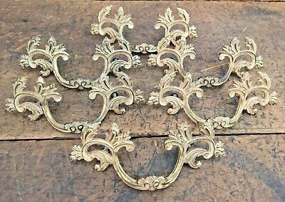 "Lot 6 Large Original French Provincial Drawer Pulls Antique 3 1/2"" On Center"