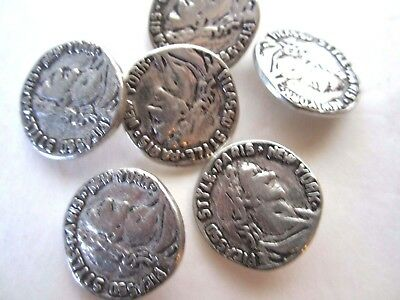 """1"""" **ANCIENT OLD WORLD COIN* Buttons (6 pc) ANTIQUE SILVER TONE"""