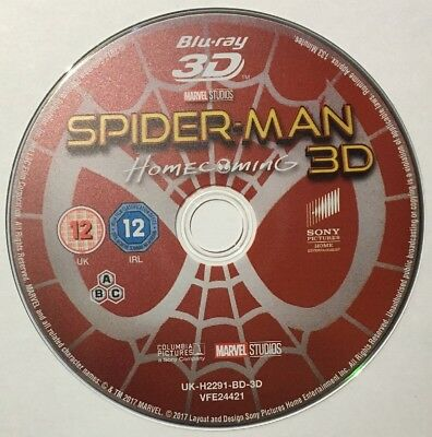 Spider-Man: Homecoming - Marvel - 3D Blu Ray - Disc Only