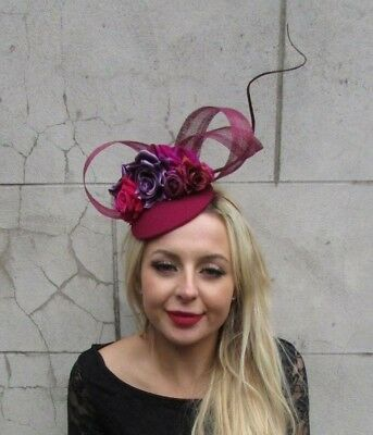 Burgundy Wine Red Purple Hot Pink Flower Feather Hat Hair Fascinator Floral 6860