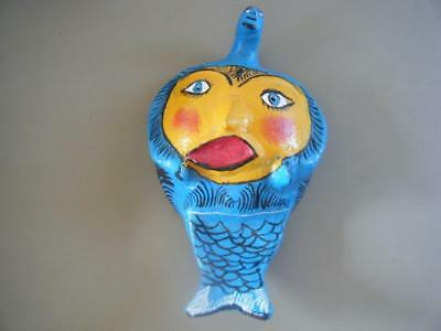 MEXICAN COCONUT Folkart Shell Mask Hand Painted FISH SUN FACE FREAKY WEIRD