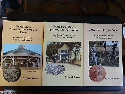 3 Books Action Guide To Copper Coins, 3 & 5 Cent Pieces, Dimes, Quarters, Halves