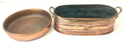 Two Handled Copper Brass Metal Pan Bucket Small Turkey Used Vintage