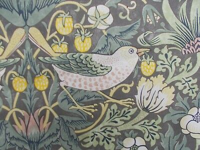 William Morris Curtain Fabric 'STRAWBERRY THIEF' 2.2 METRES (220cm) Grey/Yellow