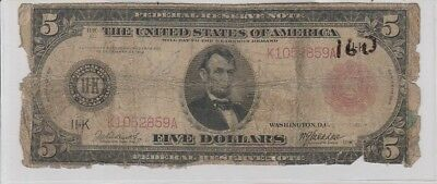 Rare Red Seal 1914 Large $5 United States Note With 11-K Dallas F842-B Rare