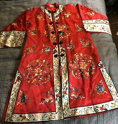 Vintage Chinese Kimono ROBE Ladies Sz S Embroidered Lotus Flowers Bai Hua SILK