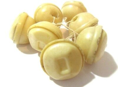 Bell Shape Puckered Light Beige Celluloid Vintage Buttons Mid Century Set Of 7