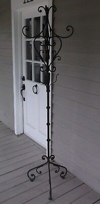 Elegant Wrought Iron Scroll Motif Hall Tree/coat/hat Stand