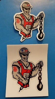 2 Different Old ALL ERECTION CRANE WV Union Equipment Hardhat Stickers