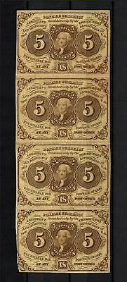 5¢ U.S. First Issue Strip of 4 | Fr.1230 / PC5 | Postage / Fractional Currency