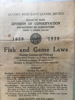Vintage State Ohio FISH & GAME LAWS1929-1930
