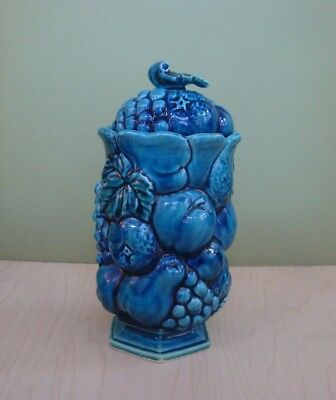 Inarco Mood Indigo Fruits Candy Jar Canister W/lid Mid-Century 1960's Japan