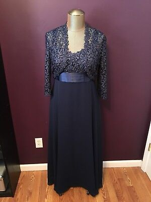 R&M Richards Mother of the Bride Groom Formal Dress Womens Size 12 Navy Blue
