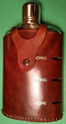 Vintage Herz England glass liquor flask, aluminum cup, leather case, new, unused