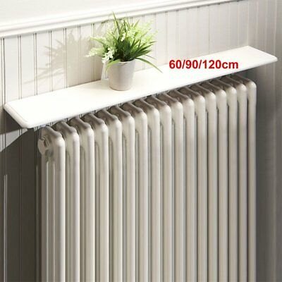 White Radiator Shelves Easy Fit Brackets 24/36/48ins No Wall Drilling Home UK