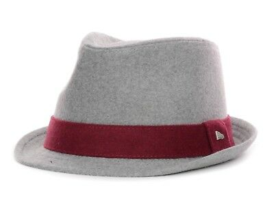 9742ea5594c NEW ERA EK - Men s Rolled Brim MELTON WOOL BLEND Fedora Hat Gray Maroon  LARGE