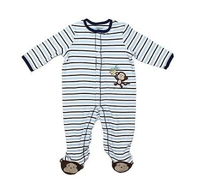 Little Me Footie Baby Boy's Footed Pajamas Sleeper Striped Monkey - BLUE - 6M