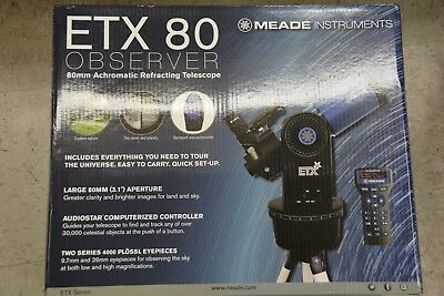 NEW Meade ETX80 Observer Telescope 80mm GoTo Refreactor with Backpack #205002