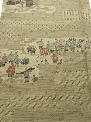 1N05z100 Japanese Kimono Wool  FABRIC Light gray-beige Heian scenery 61.4""