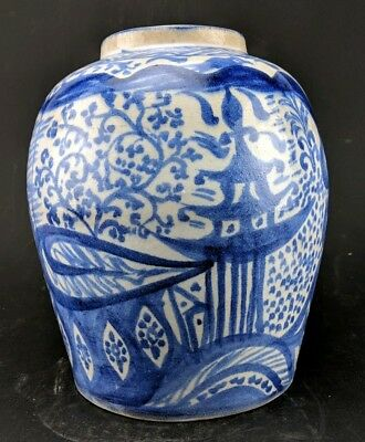 "Large 10.5"" Antique Chinese Blue White Pottery Ginger Jar Vase"