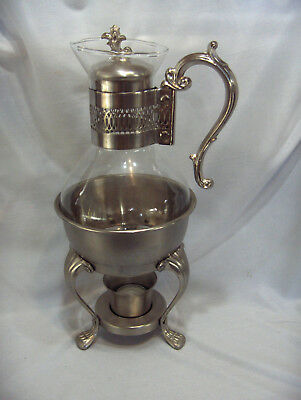 Vintage 4 Pc FB Rogers Pewterlite Glass Carafe Coffee Pot Glass Votive NICE
