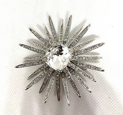 Stunning Vintage Kenneth Jay Lane Clear Crystal Starburst Rhinestone Brooch/Pin