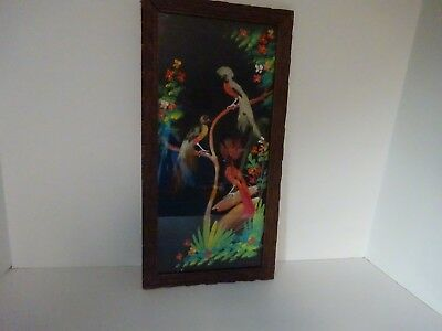 "Vintage ""Feathered Bird"" Hand Painted Picture w/Carved Frame 8 3/8"" x 16 3/8"""