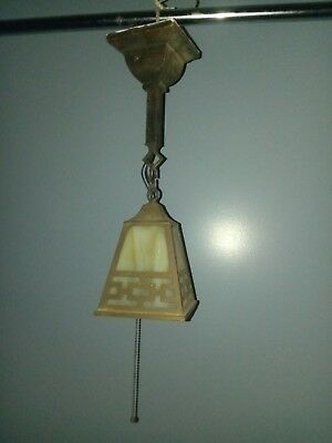 Antique Pendant Art Crafts Mission Light Fixture Brass Slag Glass Old Bungalow