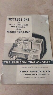 Watchmakers Vintage Paulson Time-O-Graf Instruction Manual .. Literature
