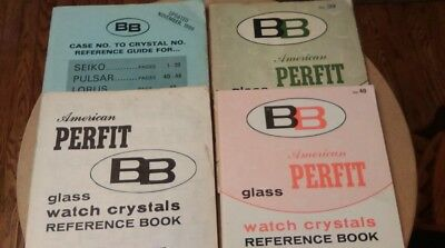 4 vtg. Watchmakers Literature American Perfit BB Glass Watch Crystals Ref. Book