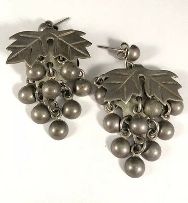 Vintage Taxco Signed TH-54 Sterling Silver 925 Handcrafted Grape Wine Earrings!