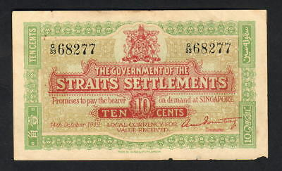 Straits Settlements P-8b. 1919 10 Cents.. aEF
