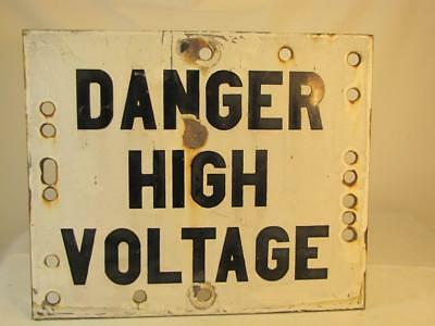 Vintage Danger High Voltage Porcelain Hi-Line Wire Sign