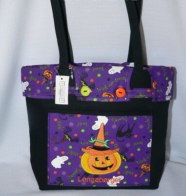 Longaberger Halloween Party Fabric ~ Embroidered Tote / Purse