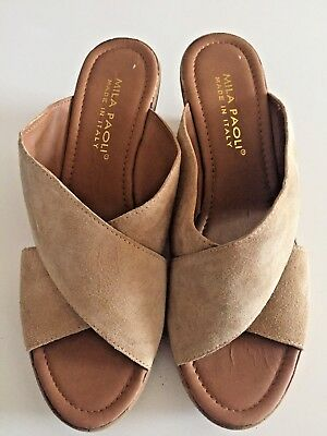 9858aafbd31d image 0 Source · NEW MILA PAOLI Suede Brown Cork Wedge Sandals Size 9 20 00  PicClick