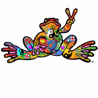 """Peace Frogs Button Frog Sticker ~ 6"""" x 3"""" ~ High Quality Vinyl ~ Ships Free!!!"""