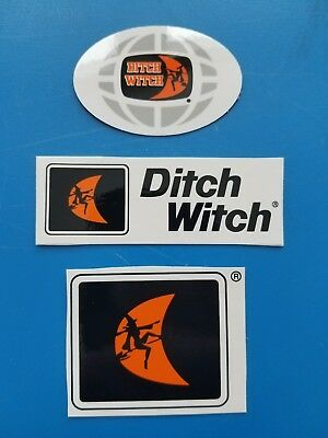 3 Vintage Recent DITCH WITCH CONSTRUCTION EQUIPMENT Union Hardhat Stickers