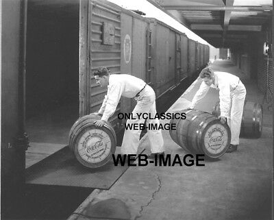 1950's COCA-COLA FOUNTAIN SYRUP BARREL BEING LOADED ON RAILROAD TRAIN PHOTO-SIGN