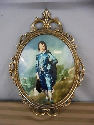 "Vintage Ornate Oval Heavy Brass Framed Blue Boy Print W/ Glass Cover 12"" x 17"""