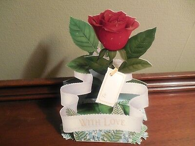 """Pop Shots Valentine Vintage Standing Notations Rose """" With Love"""""""