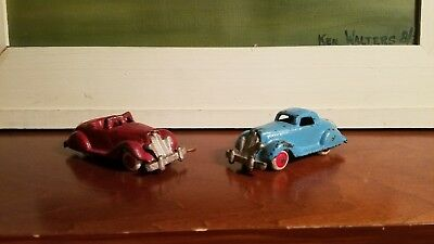 1930's  2 VINTAGE  HUBLEY CAST IRON CHRYSLER AIRFLOW TOY CAR ONE CONVETIBLE