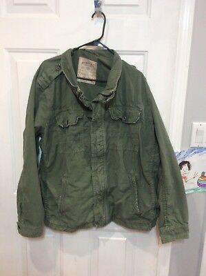 ddc5dfd93a1 AMERICAN EAGLE OUTFITTERS AEO Olive Military Bomber army Style ...