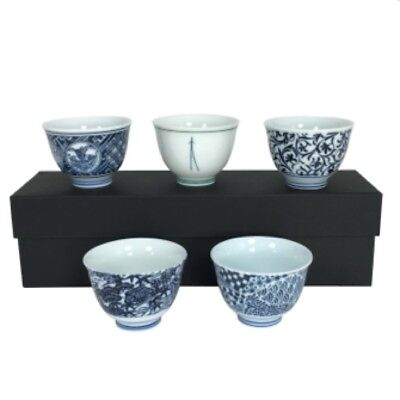 5 PCS. Japanese Ceramic Assorted Design Sake / Small Tea Cups Set, Made in Japan