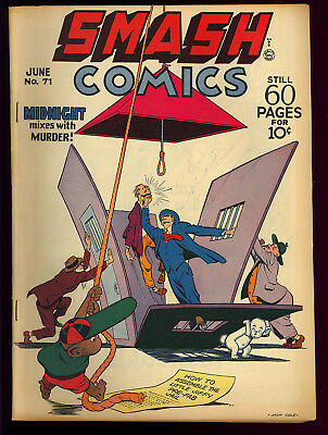 Smash Comics #71 Nice Midnight Lady Luck Golden Age Quality 1947 VG+