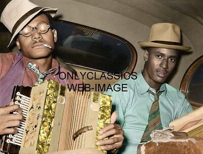1938 Cool Negro Musicians With Instruments Colorized Photo Black Americana Jazz