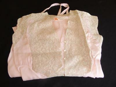 YOLANDE 30'S 40'S PURE PINK SILK & LACE NEGLIGEE NIGHTGOWN LINGERIE size 34