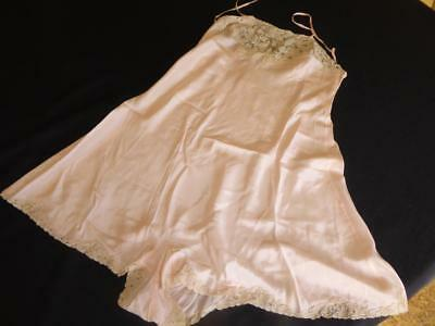 ANTIQUE 1920'S 30'S PEACH SILK  & LACE TEDDY SLIP LINGERIE MADE IN FRANCE sz 34