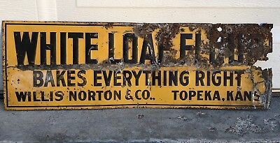 Rare Vintage White Loaf Flour Tin Sign Topeka Kansas Bakery Bread Sign Sunbeam