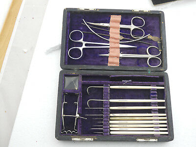 1860s Antique G Tiemann Small Cased Ophthalmologic Surgery Kit Eye Surgical